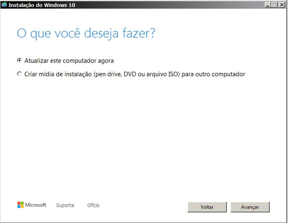 É possível atualizar o computador para Windows 10 com uma ferramenta disponibilizada no site da Microsoft. — Foto: Reprodução