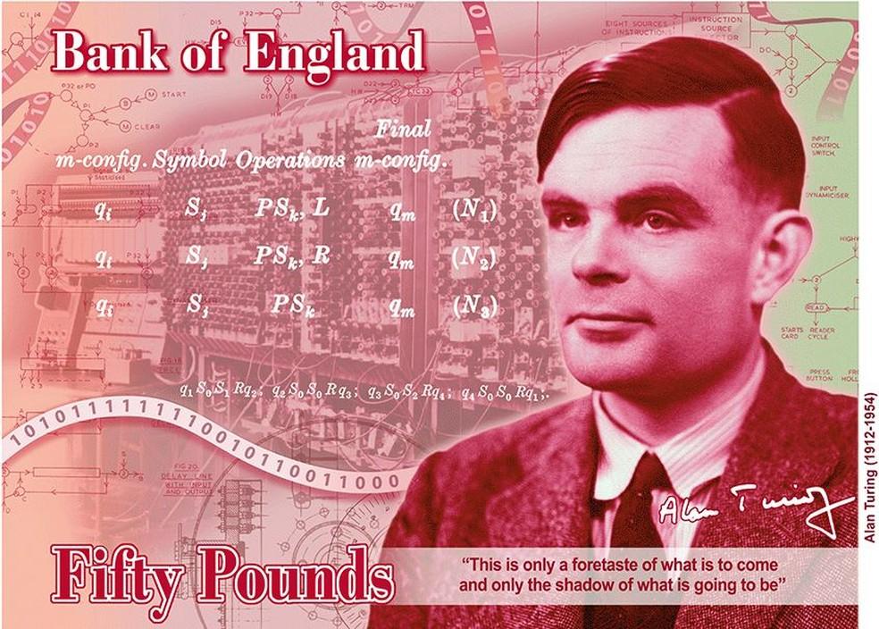 Imagem da nova nota de £ 50 com o matemático Alan Turing, divulgada pelo Banco da Inglaterra,  — Foto: Reprodução