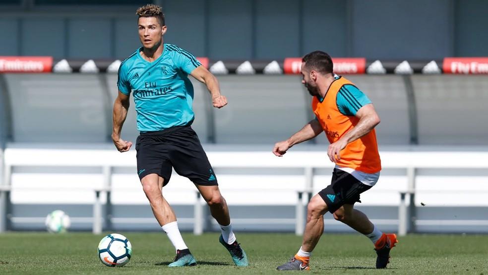 Cristiano Ronaldo volta a treinar com o Real Madrid (Foto: Reprodução / Twitter)