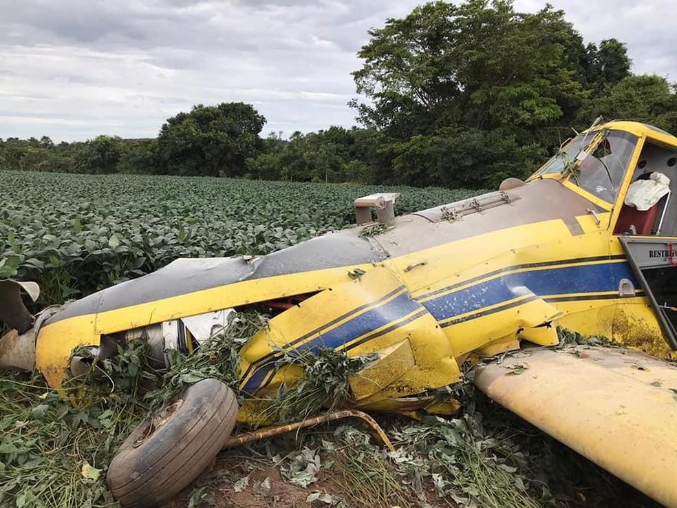 Sidney perdeu controle de avião e caiu em lavoura — Foto: Facebook/Divulgação