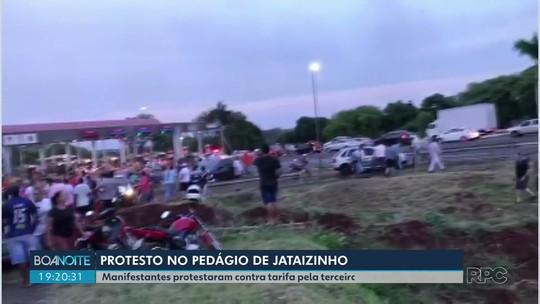 Protesto contra a alta no pedágio termina em confusão com a PM em Jataizinho