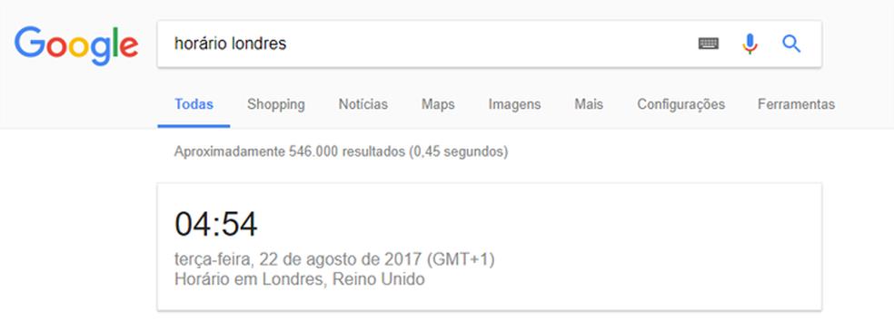 Horários de cidades diferentes podem ser consultados no Google (Foto: Reprodução/Google)