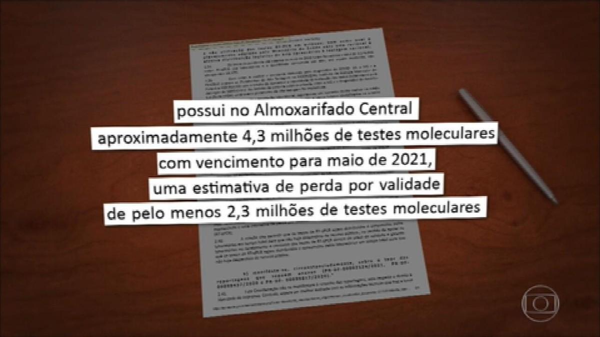 Mais de 2 milhões de testes de Covid entregues ao governo estão perto de perder a validade, diz MP