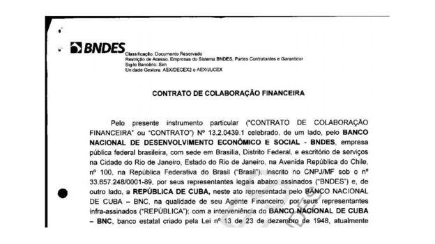 Reprodução da primeira página do contrato entre o BNDES e o governo de Cuba para construção do porto de Mariel, documento disponível no site do banco (Foto: BBC)