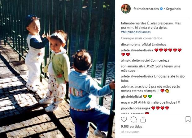 Fátima Bernardes posta foto de infância dos filhos (Foto: Reprodução/Instagram)