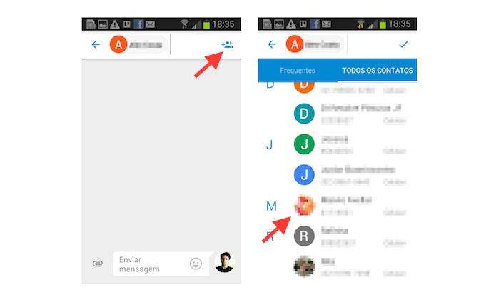 Adicionando novos contatos a uma mensagem do Google Messenger (Foto: Reprodução/Marvin Costa)