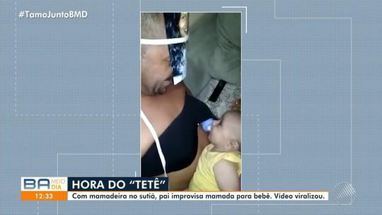 Baiano que prendeu mamadeira em sutiã para 'amamentar' filho fala sobre paternidade: 'Participem da criação'