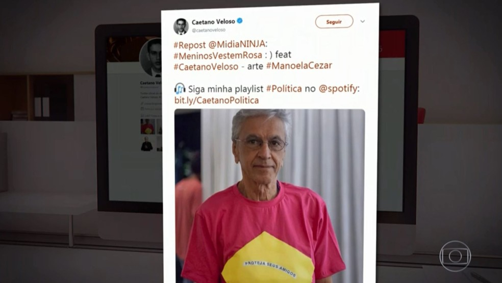 Caetano Veloso, em sua conta no Instagram — Foto: Reprodução/TV Globo