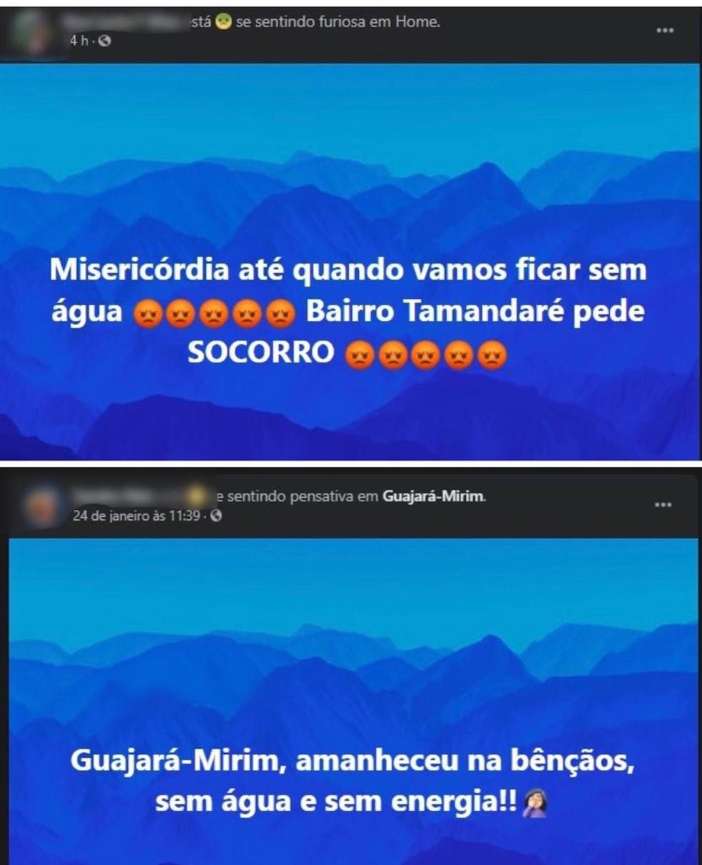 Desde o dia 20 de janeiro, moradores de Guajará-Mirim têm usado as redes sociais para reclamar a falta de água. — Foto: Reprodução/Facebook