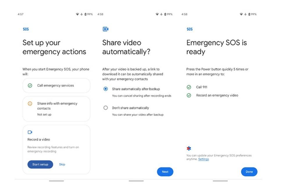 Telas de configuração de emergência do Android no Google Pixel — Foto: Reprodução/XDA Developers