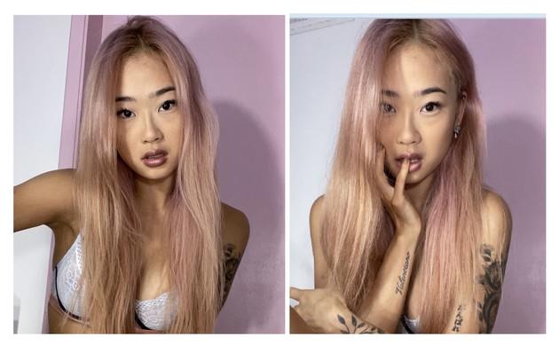 Malu Ogata, de 20 anos, tingiu o cabelo de rosa para ser lançada em 'Verdades secretas' 2 (Foto: Reprodução)
