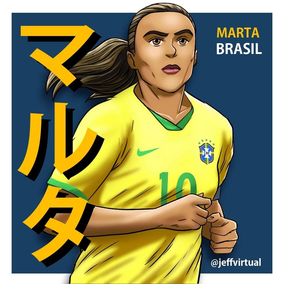 Marta é um dos heróis retratados por Jeff Araújo em seus animes — Foto: @jeffvirtual