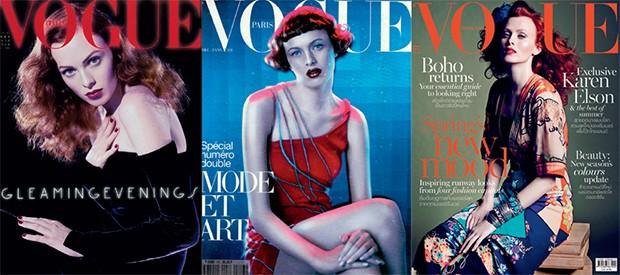 Capas da Vogue Itália (dezembro de 2004), Vogue Paris (setembro de 1997), Vogue Tailândia (março de 2015) (Foto: Divulgação)