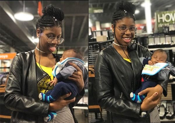 Tia Freeman e o bebê Xavier (Foto: Reprodução)