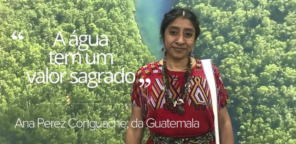A representante da etnia Pocoman Ana Perez Conguache veio da Guatemala para participar das discussões do do 8º Fórum Mundial da Água, em Brasília (Foto: Letícia Carvalho/G1)
