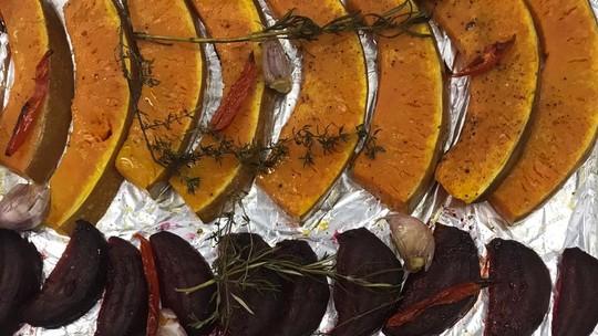 Legumes no Forno, Batata no Micro-ondas e Cebola no Micro-ondas