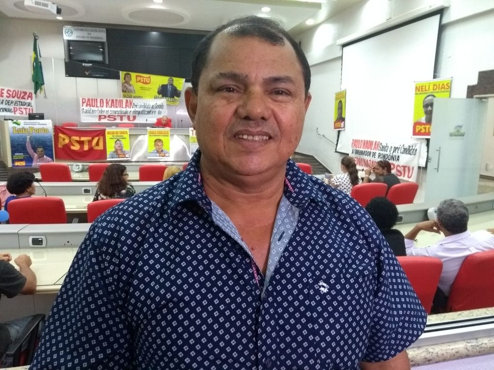 Pedro Nazareno é anunciado como candidato ao governo de RO, pelo PSTU (Foto: Toni Francis/ G1)