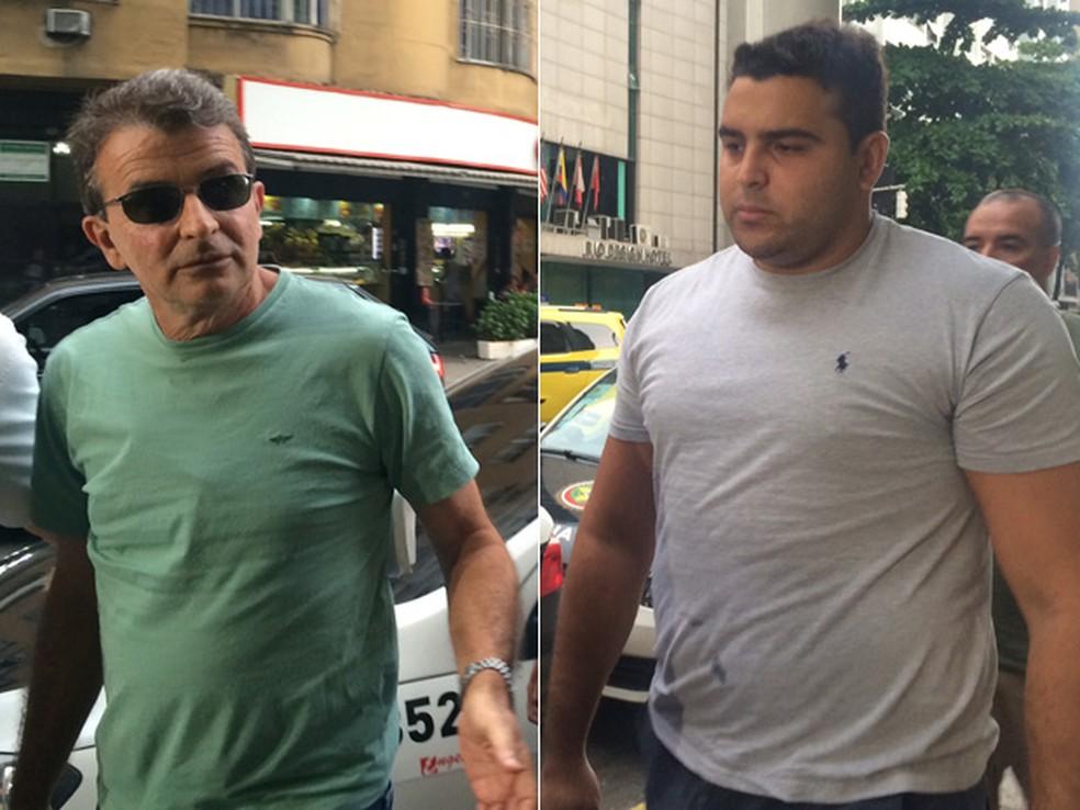 Roberto Bussamra e o filho Rafael na chegada à delegacia — Foto: Lívia Torres / G1