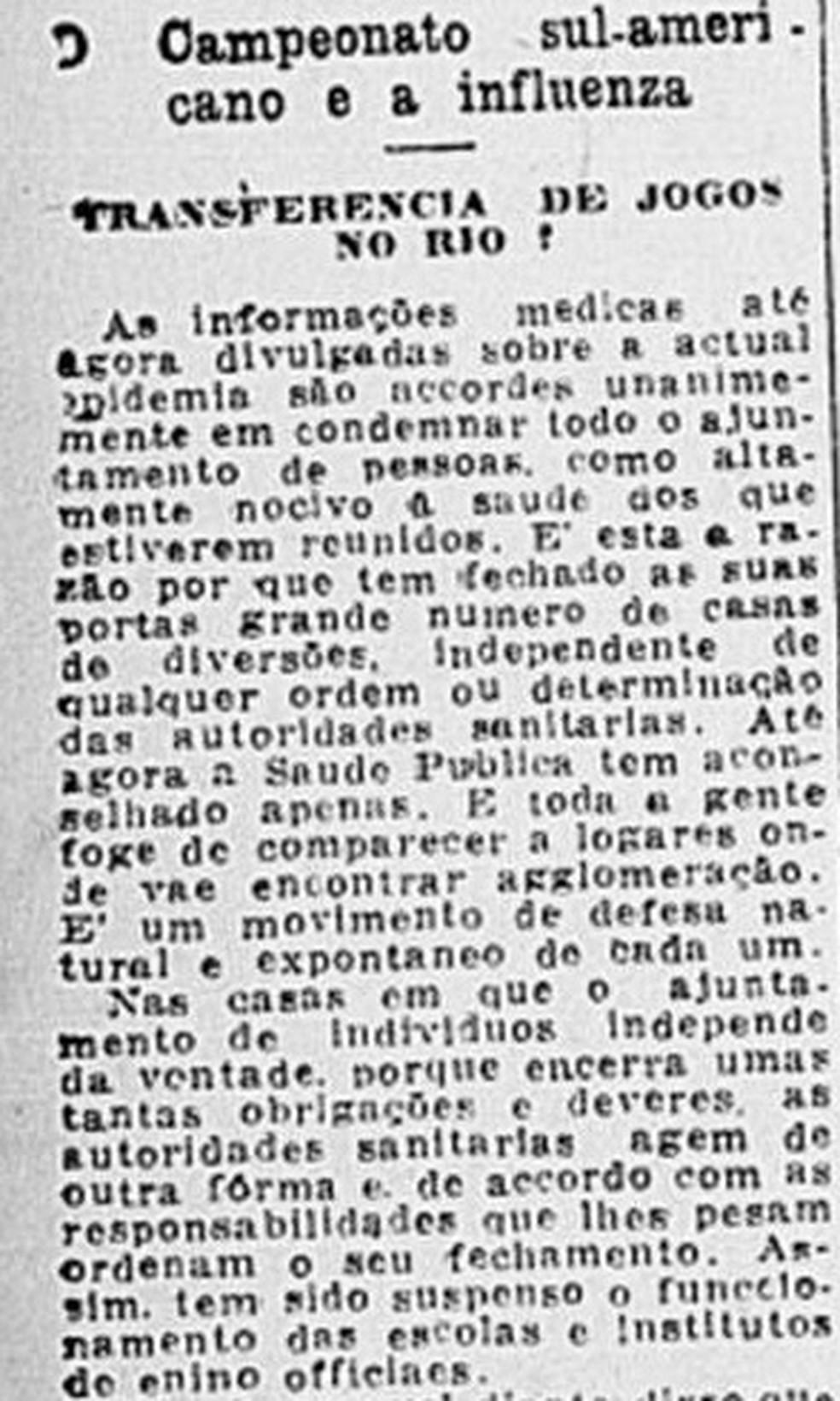Jornal do Brasil alerta para risco de realização da Copa América, em 1918 — Foto: Reprodução/Jornal do Brasil