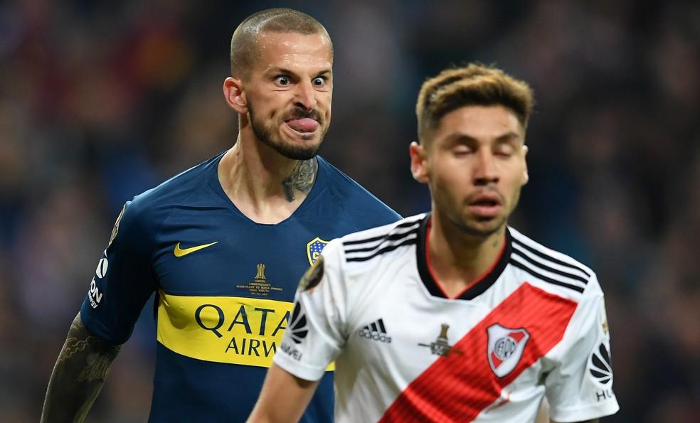 Lembra dessa comemoração de Benedetto na final da Libertadores? Ele e Montiel estarão juntos na seleção — Foto: Matthias Hangst/Getty Images