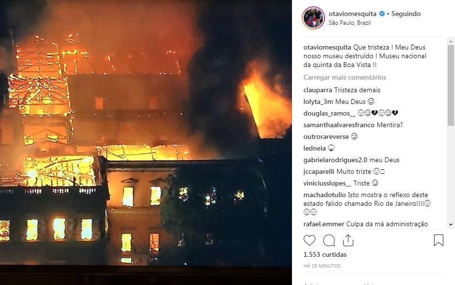 Otávio Mesquita lamenta o incidente no Museu de História do Rio de Janeiro (Foto: Reprodução / Instagram)