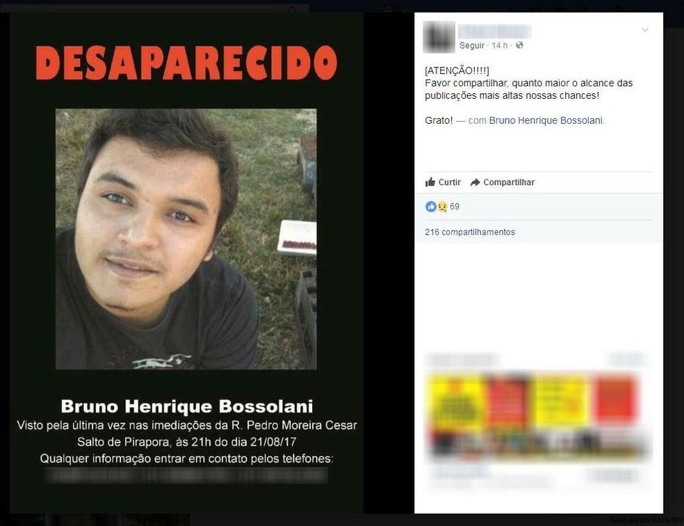 Bruno Henrique Bossolani desapareceu depois de ir a uma festa em Salto de Pirapora (Foto: Facebook/Reprodução)