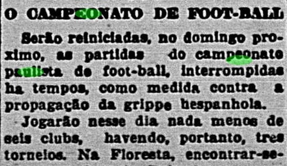 Campeonato Paulista de 1918 é retomado após pandemia da gripe espanhola — Foto: Reprodução/Correio Paulistano