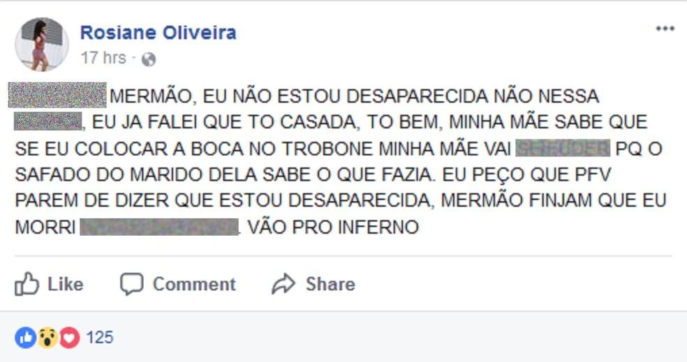 Menina fez postagem dizendo que saiu de casa por vontade própria  (Foto: Reprodução/Facebook)