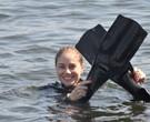 Juliana Baroni faz sua primeira aula de mergulho para viver a personagem Teresa, na nova novela das 22h de Gisele Joras na Record/ Foto:Munir Chatack / Record