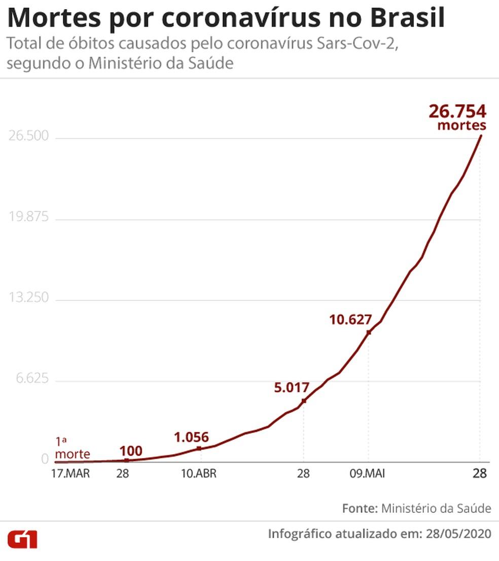 Mortes por coronavírus no Brasil em 28 de maio — Foto: G1