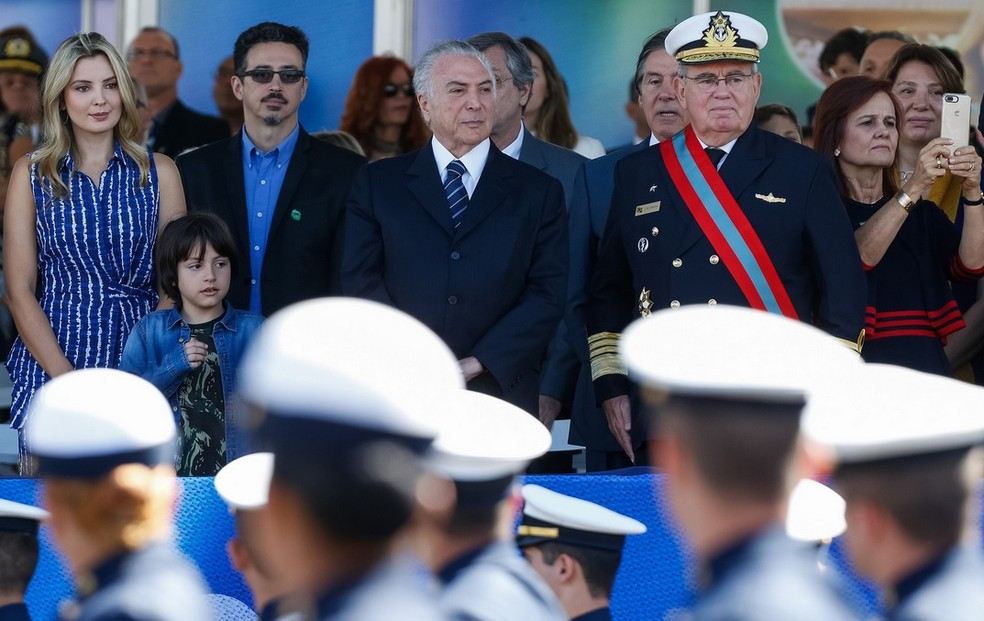 O presidente Michel Temer, ao lado da primeira-dama, Marcela Temer, no desfile de 7 de setembro do ano passado (Foto: Alan Santos/PR)