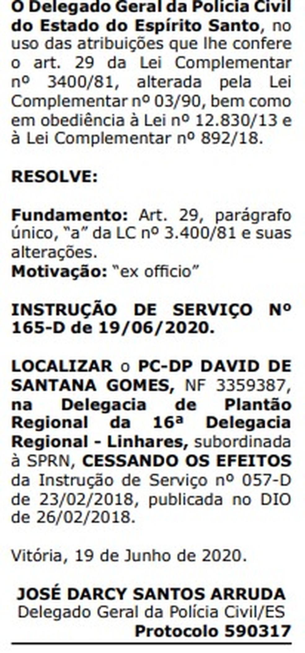 Transferência foi publicada no Diário Oficial desta segunda-feira (22)  — Foto: Reprodução/Diário Oficial do Governo do ES