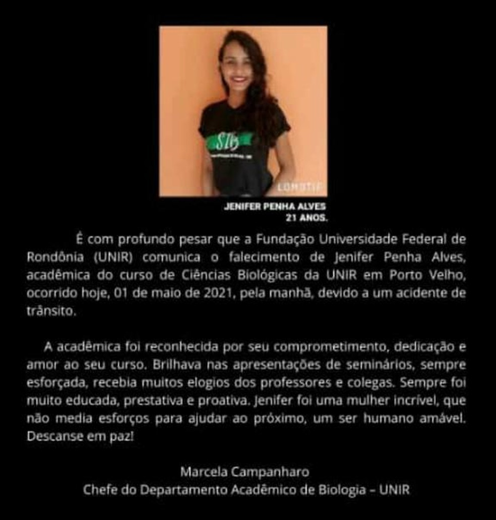 Unir presta homenagens a aluna que morreu em acidente de trânsito em Porto Velho — Foto: Reprodução/Unir
