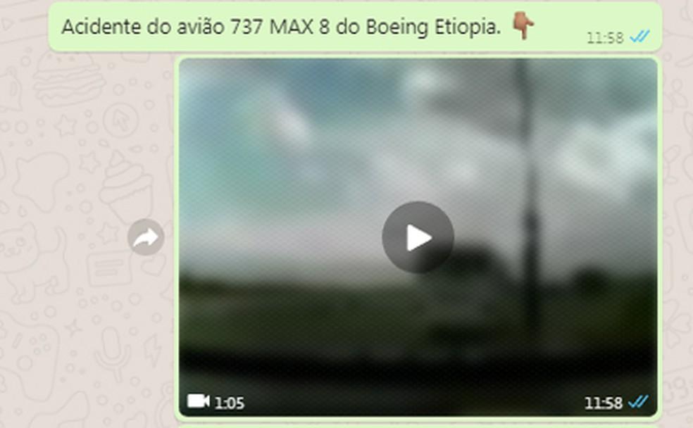 Mensagem sobre avião que caiu na Etiópia que circula na web — Foto:  G1