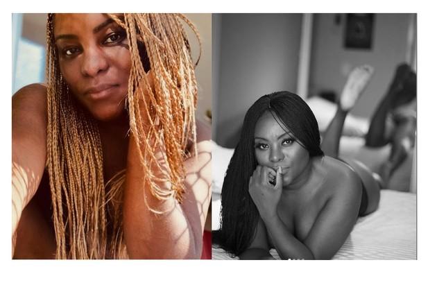 Karin Hills, ex-Rouge, atriz de musicais e de 'Sexo e as Nega', da Globo, cobriu os seios com as tranças (Foto: Reprodução/Instagram)