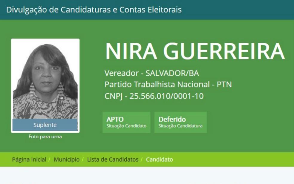 Nira Guerreira foi candidata a vereadora de Salvador em 2016 (Foto: Reprodução/Divulgacand)
