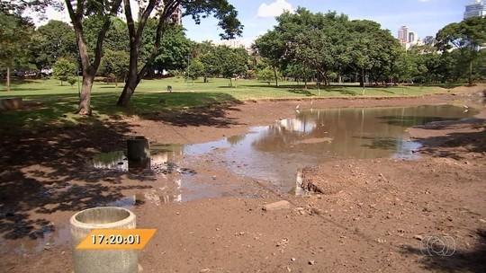 Amma regulariza espelhos d'água no Lago das Rosas, em Goiânia