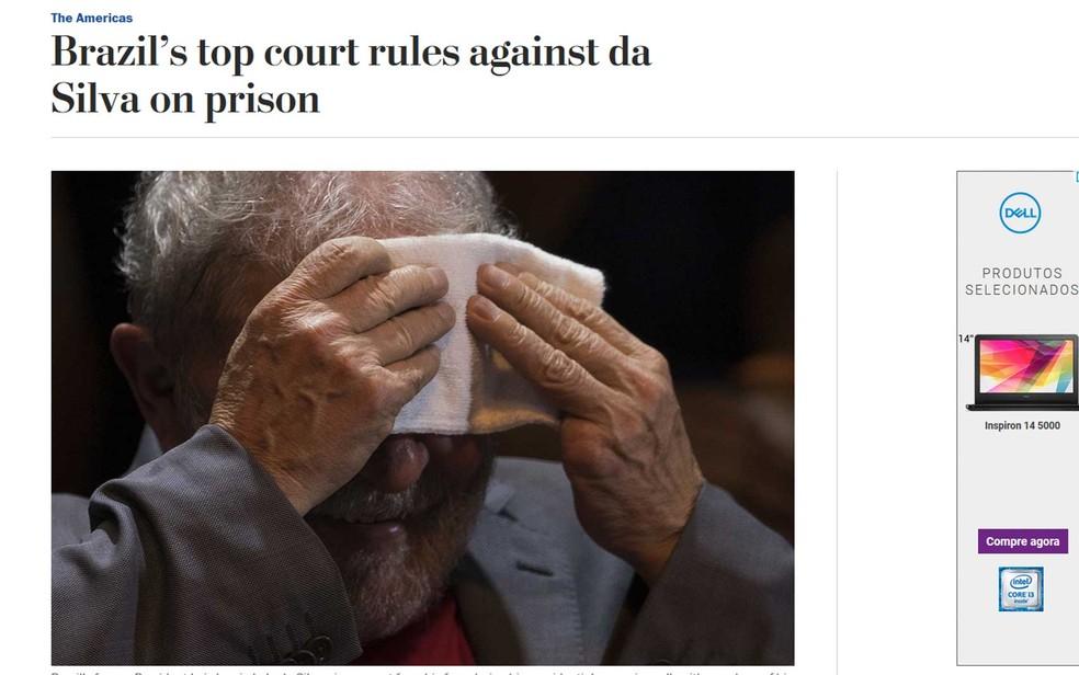 The Washington Post lembra que Lula ainda lidera pesquisas eleitorais no Brasil (Foto: Reprodução / The Washington Post)
