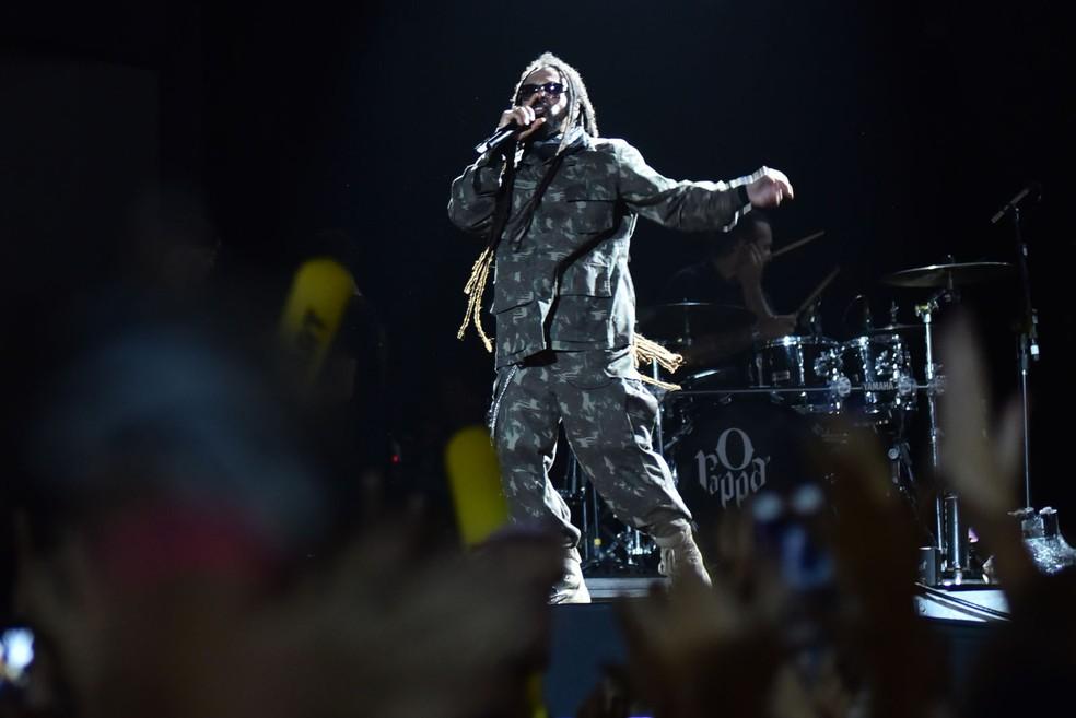 Antes de subir ao palco, Falcão anunciou carreira solo (Foto: Max Haack/Ag Haack)