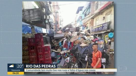 Mais de uma semana após temporal, moradores de Rio das Pedras sofrem com lixo nas ruas e falta d'água