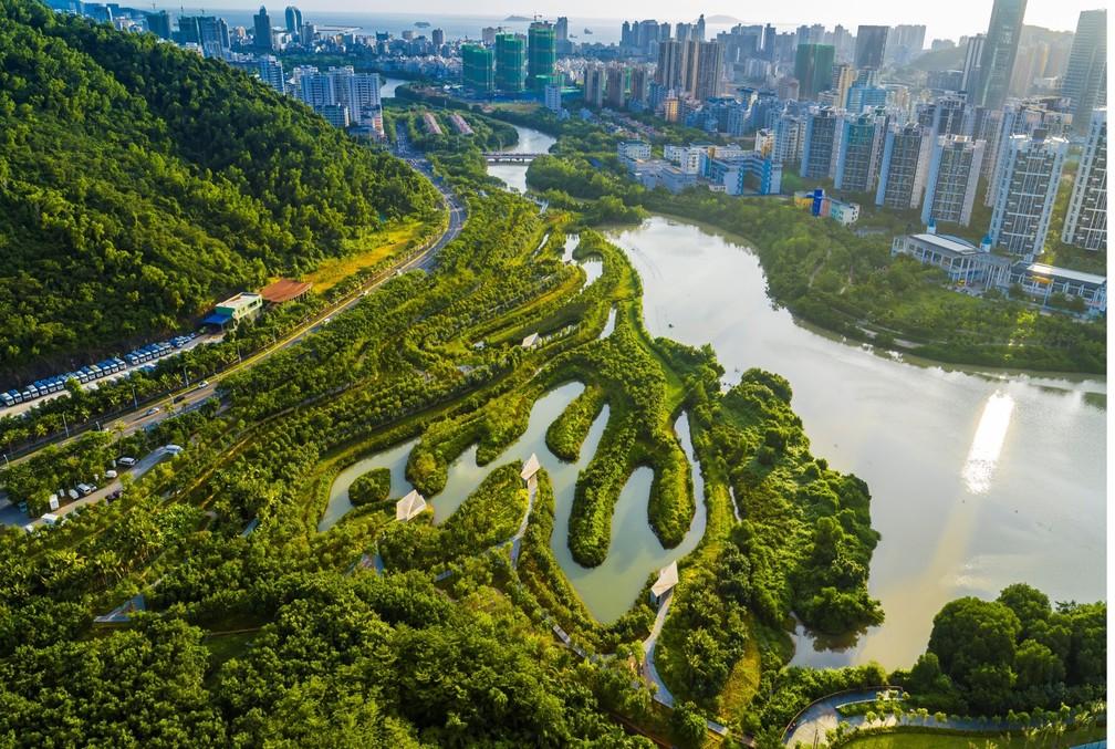 Parque dos Manguezais em Sanya, na China, um exemplo de parque alagável  — Foto: Turenscape/Divulgação