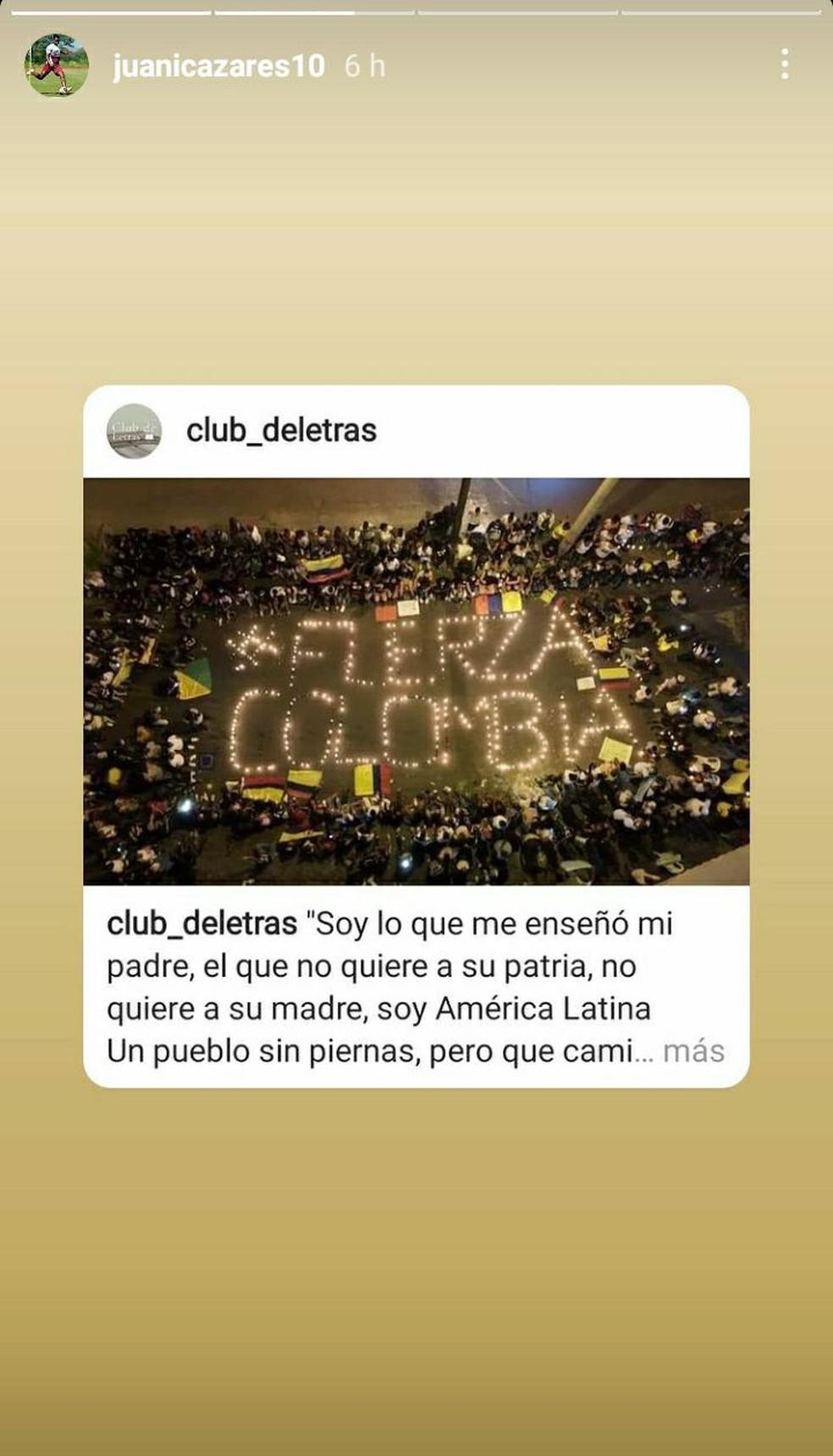 Equatoriano Cazares compartilhou uma publicação em solidariedade à Colômbia — Foto: Reprodução / Instagram