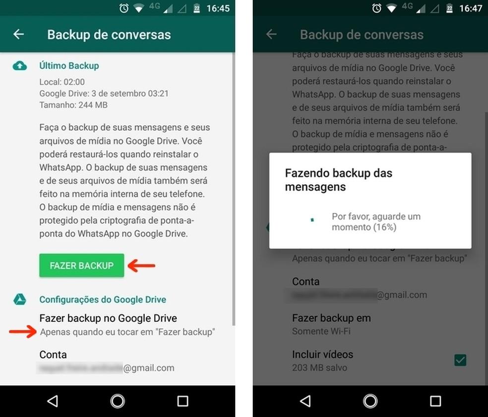 Confirme a preparação de backup de conversas do WhatsApp para Android — Foto: Reprodução/Raquel Freire