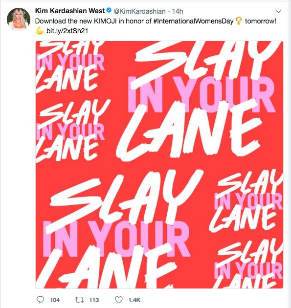 O tuíte no qual Kim Kardashian anuncia os novos emojis de sua loja pessoal (Foto: Twitter)