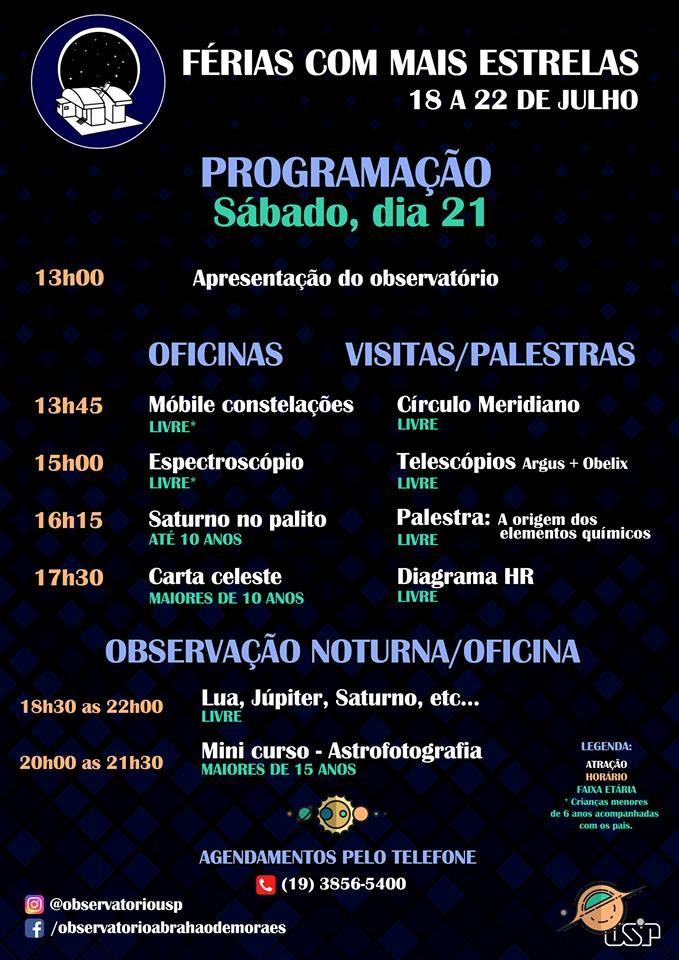 """Programação do dia 21 de julho do evento """"Ferias com Mais Estrelas"""" (Foto: OAM)"""