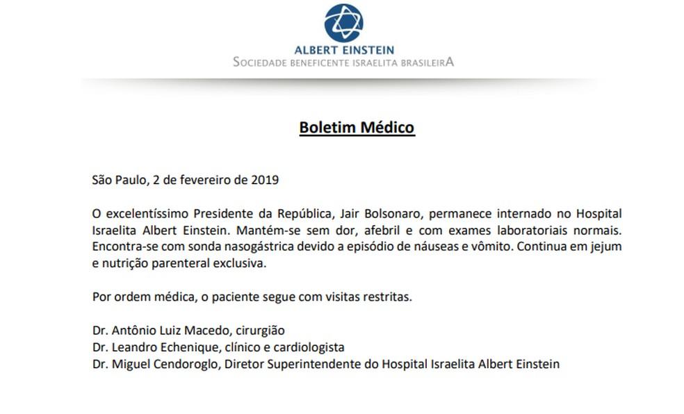 Bolsonaro tem náuseas e vômito neste sábado — Foto: Reprodução
