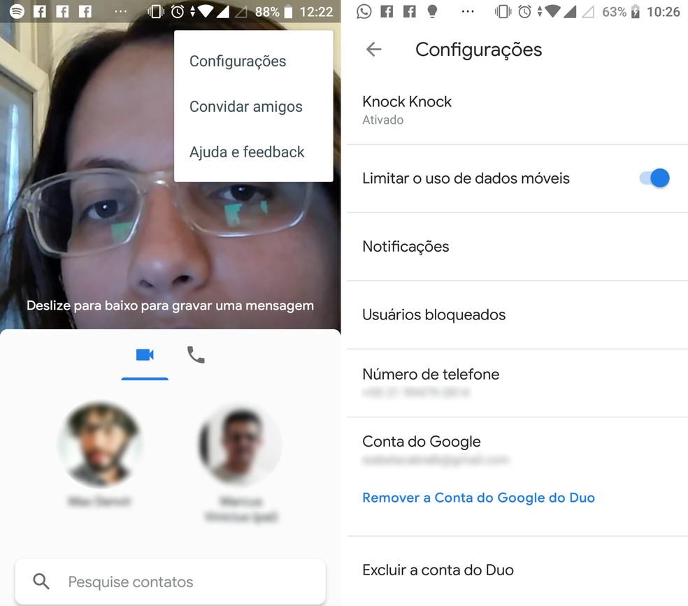 Usuário pode desabilitar função de economia de dados móveis no Google Duo — Foto: Reprodução/Isabela Cabral