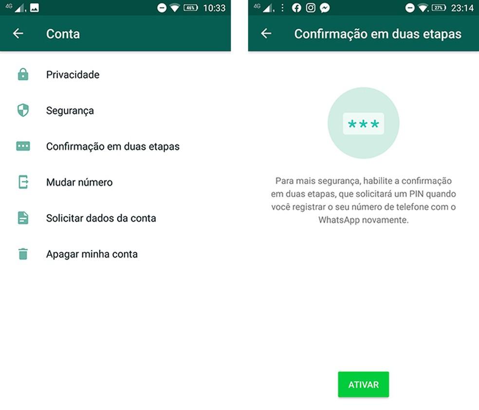 Ativar a autenticação em dois fatores dificulta o acesso de terceiros em sua conta do WhatsApp — Foto: Reprodução/Marcela Franco