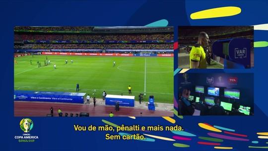 Confira a conversa do árbitro de campo com o de vídeo na decisão do pênalti que originou o gol do Brasil
