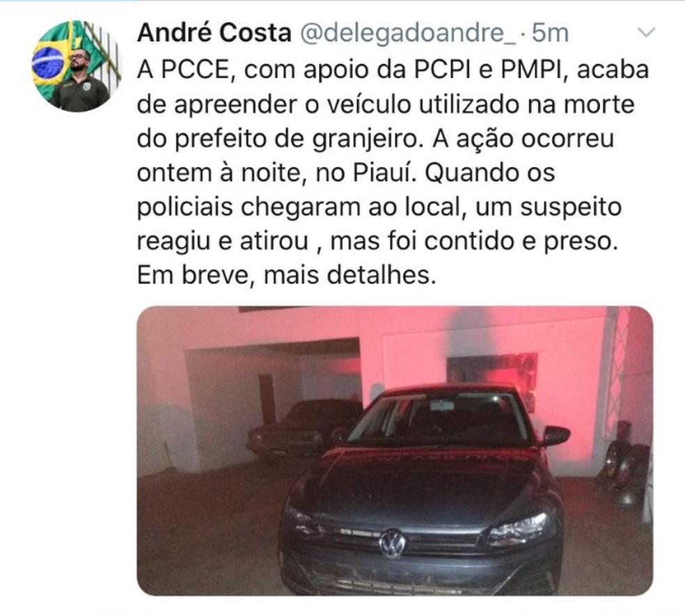 Secretário da Secretaria de Segurança Pública, André Costa, postou a apreensão do veículo na sua conta no Instagram. — Foto: Reprodução/Arquivo Pessoal